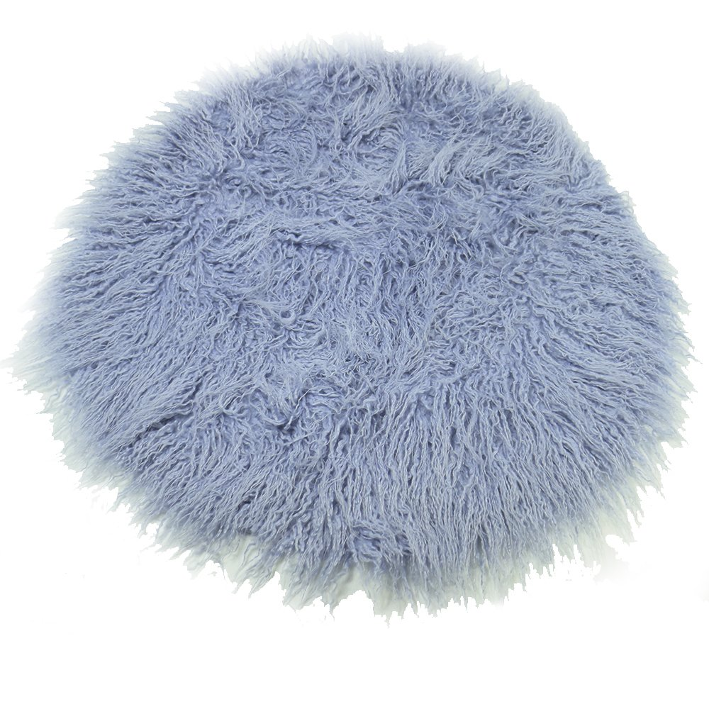 Baby Photo Props Faux Fur Round 23.6 inch Soft Baby Boy Girl Photo Blanket Studio Photo M sky blue