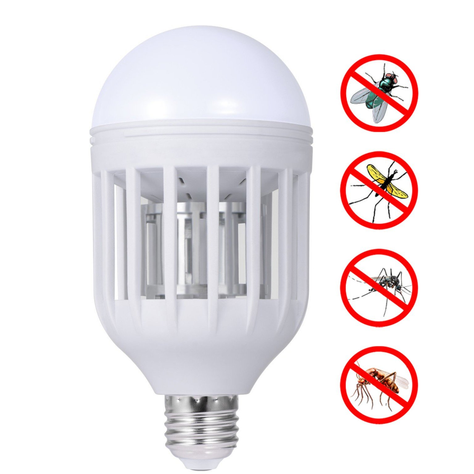 UDYR Bug Zapper Light Bulb LED Mosquito Killer Bulb Electronic Insect Killer Lamp Bulb Flying Insects Wasp Moths Bug Killer for Indoor Home Garden Patio Backyard (E27 110V 12W) (white)