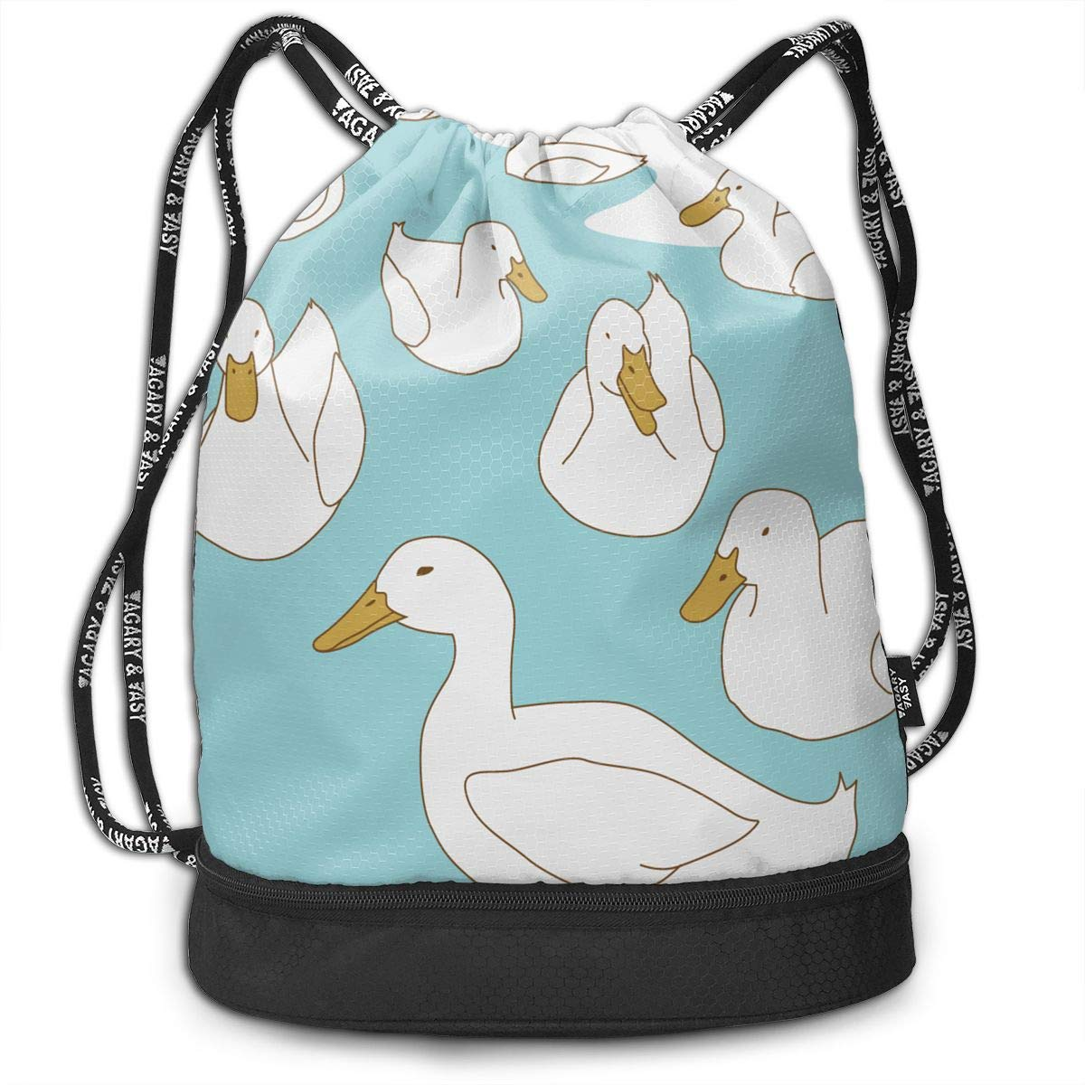 HUOPR5Q Swan Pattern Drawstring Backpack Sport Gym Sack Shoulder Bulk Bag Dance Bag for School Travel