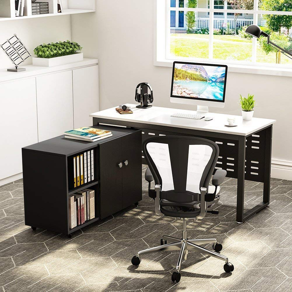 Tribesigns 55 inch Computer Desk,L-Shaped Desk with Cabinet Storage, Office Writing Desk with Bookcase &Printer Stand for Home Offic by Tribesigns