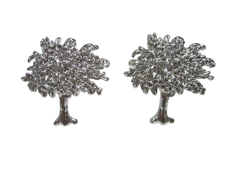 Silver Toned Full Tree Design Cufflinks