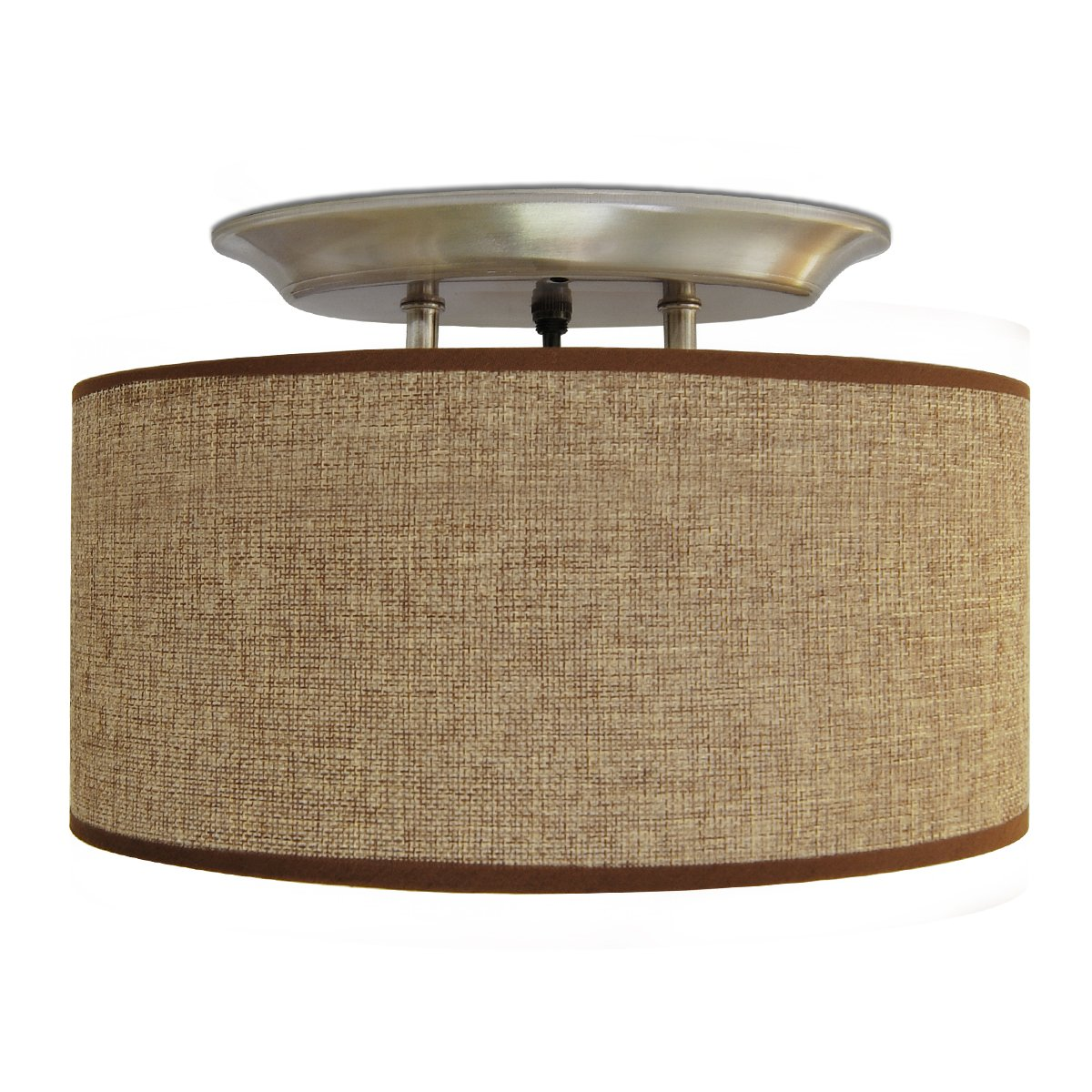 Dream Lighting 12V Fabric Light Fixture with Brown Burlap Elliptical Oval Ceiling Light Shade - LED Decor Lamp with Switch- 0.49A, 6W,