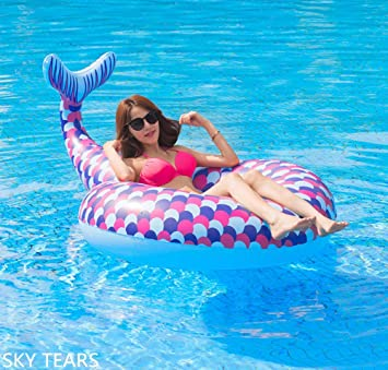 SKY TEARS Cola de Sirena Flotador Hinchable para Piscina, Veraniego Hinchable Colchonetas Piscina para Adulto (Sirena)