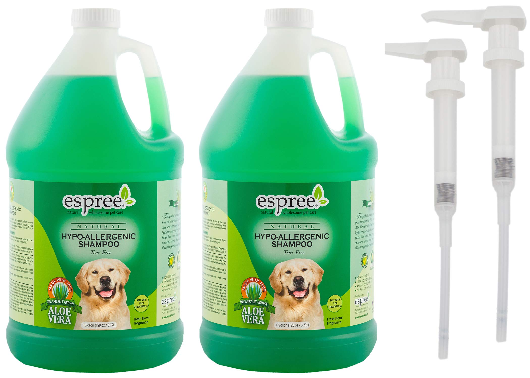 Espree Hypo-Allergenic Coconut Puppies and Kittens Shampoo, 1-Gallon, Pack of 2 with 1 Pump by Espree