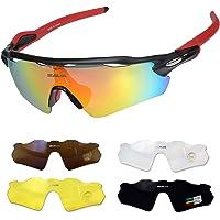 SAVA Sport Cycling Sunglasses, Anti-Fog Polarized &OTG Sunglasses, Cycling Glasses for Men & Women with 5 Set Interchangeable Lenses, Anti-UV 400 for Camping, Driving, Running, Hiking.