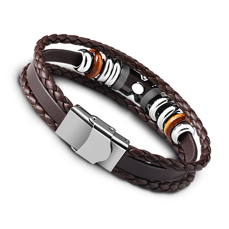 UHIBROS Unisex Stainless Steel Leather Bracelet,Men\'s Jewelry Leather CZ Punk Cuff Braided Bracelet Bangle ,Brown Leather Rope Wrist Bracelet 8.3 Inch