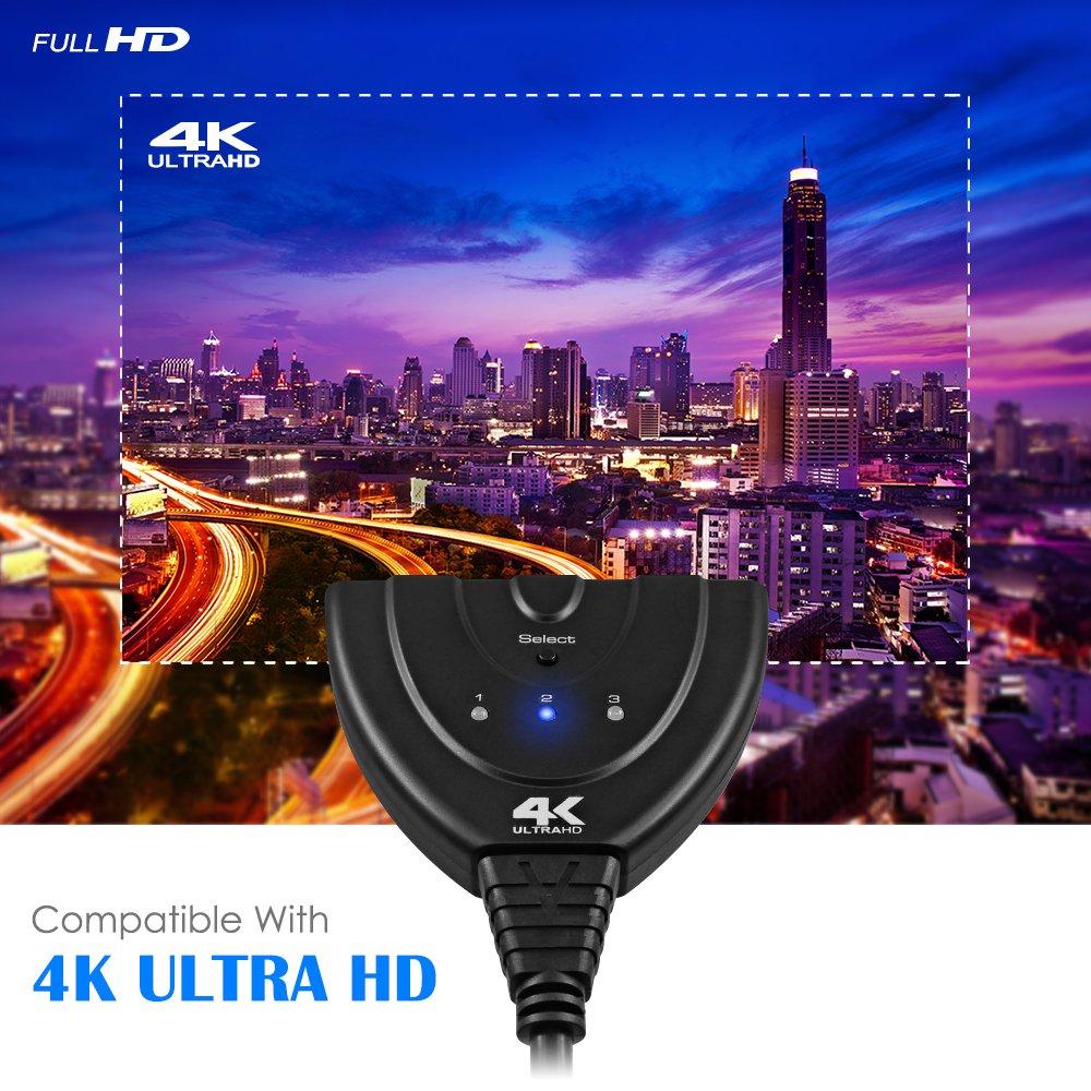 3 HDMI-Eingang und 1 Ausgang Senhai 3 Port HDMI Switcher Kabel Unterst/ützung 1080P 3D 4K UHD Switch Devices Frei