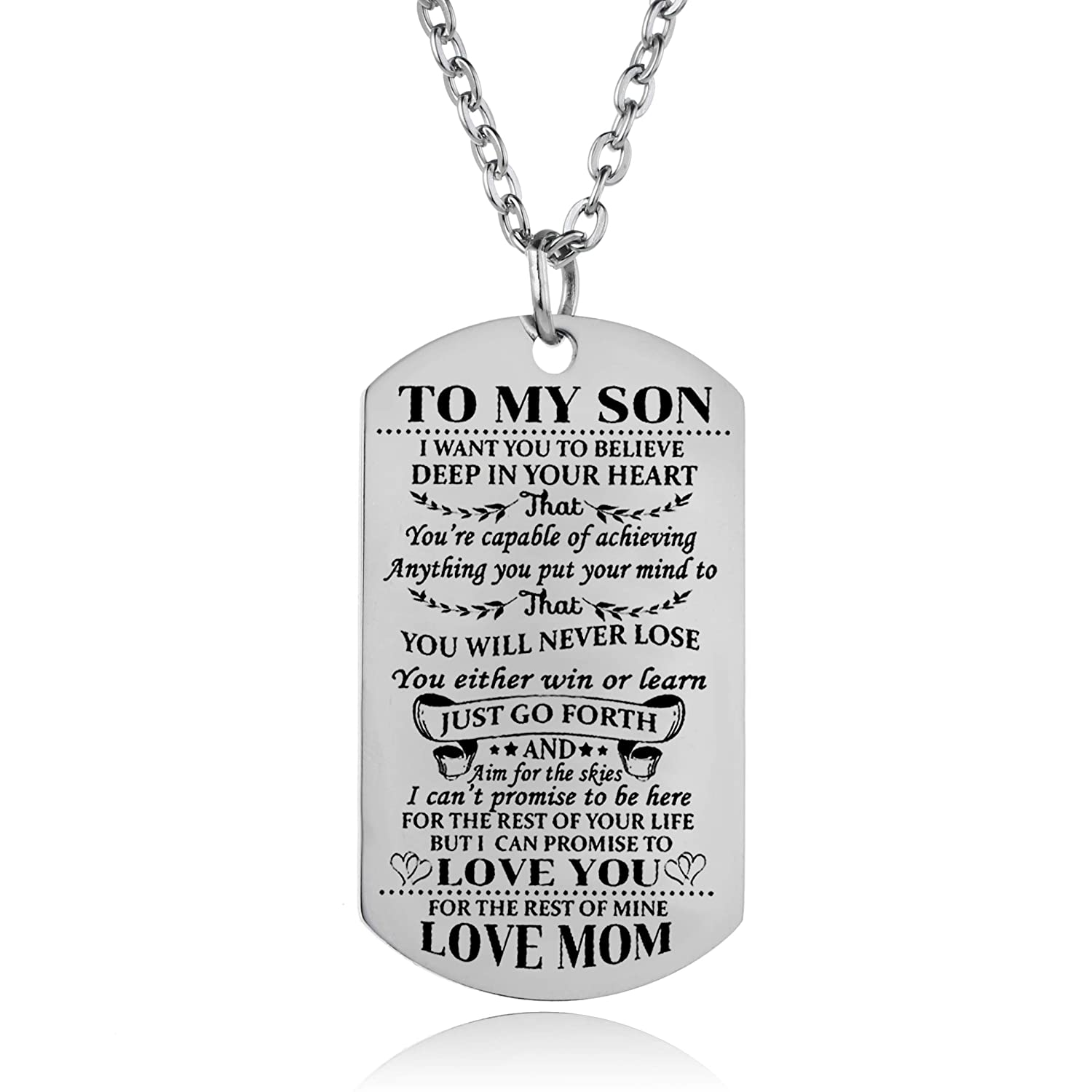 Amazon YeeQin Son Necklace Love Dog Tag Believe Inspirational Gifts From Dad Mom Birthday Graduation For Jewelry