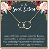 Dear Ava Sweet 16 Gift Necklace: Sweet Sixteen, 16th Birthday, Gift for Her, 2 Asymmetrical Circles