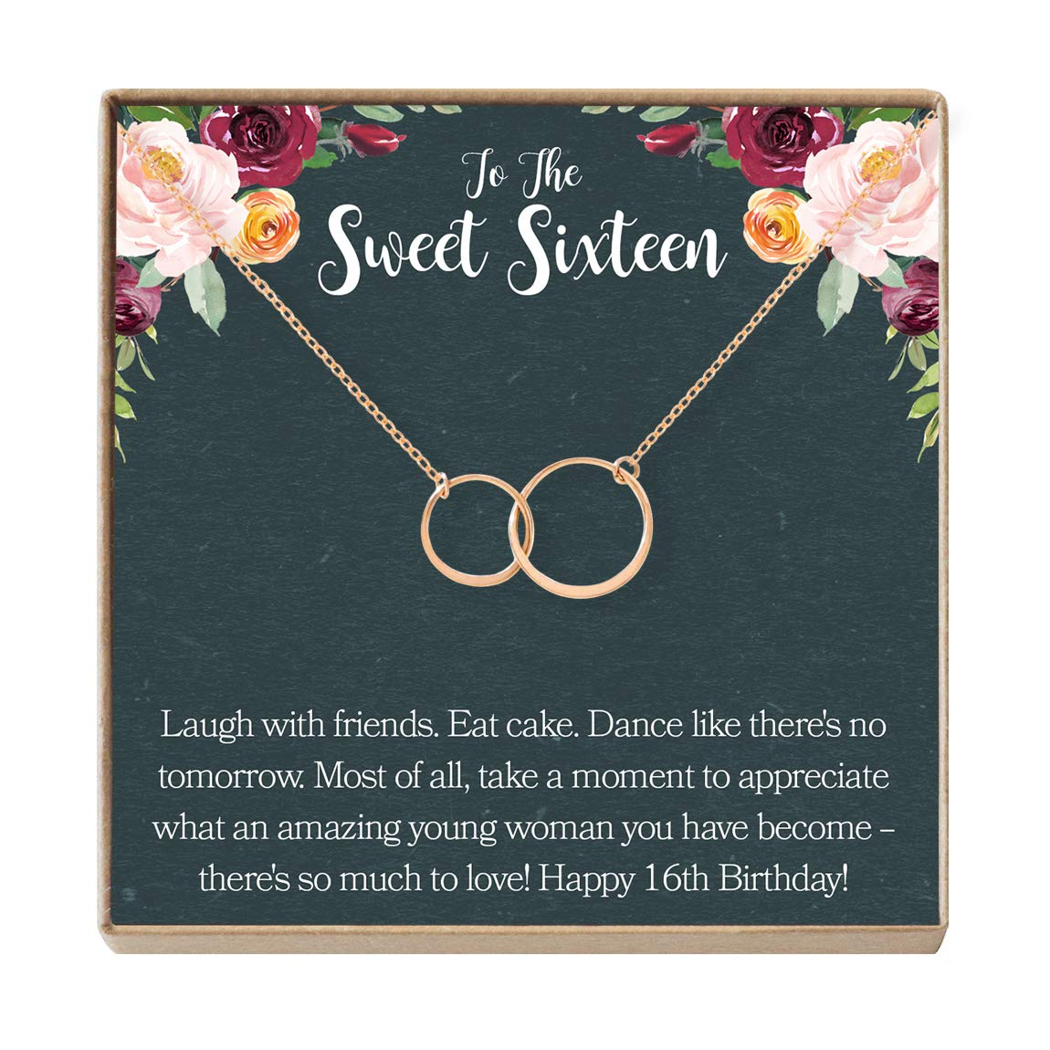 Dear Ava Sweet 16 Gift Necklace Sweet Sixteen 16th Birthday Gift For Her 2 Asymmetrical Circles Buy Online In South Africa At Desertcart