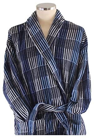 c086283007 Bown of London Mens Hereford Check Luxury Dressing Gown - Blue Grey - Medium