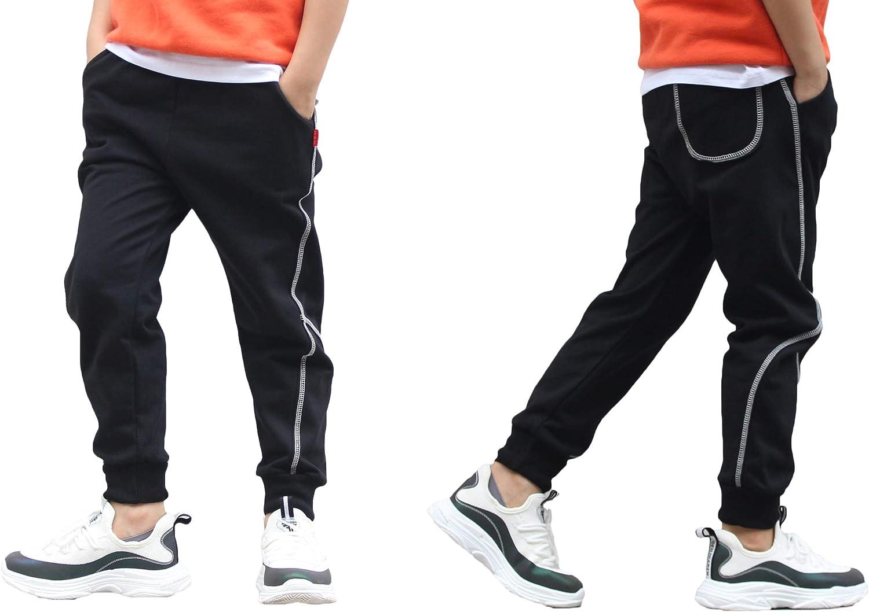 BASELE Boys Fashion Casual Cotton Sweatpants Slim Fit Athletic Drawstring Jogger Pants