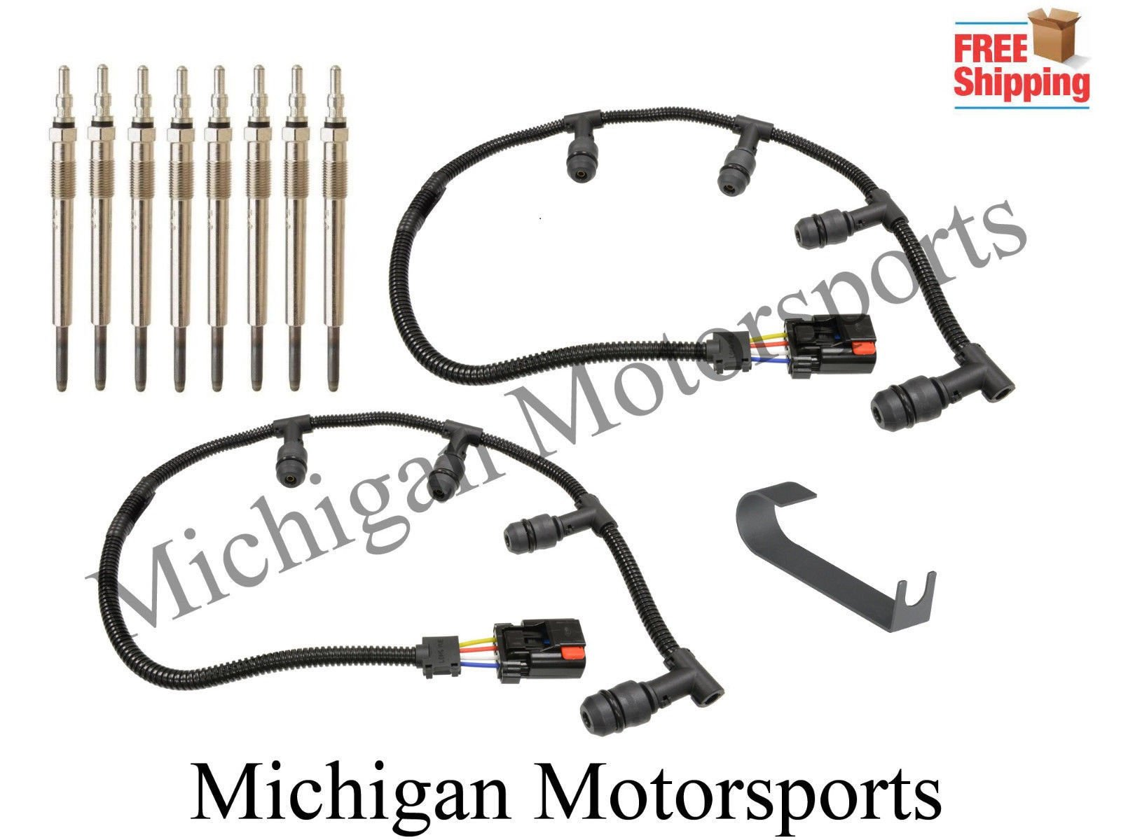 Michigan Motorsports Diesel Glow Plug Harness, Glow Plugs, and Tool - Fits Powerstroke Diesel 2004-2010 Ford 6.0