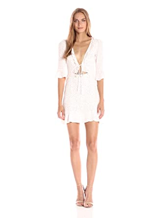 For Love & Lemons Women's Nostalgic Tie Front Dress, White Star, M