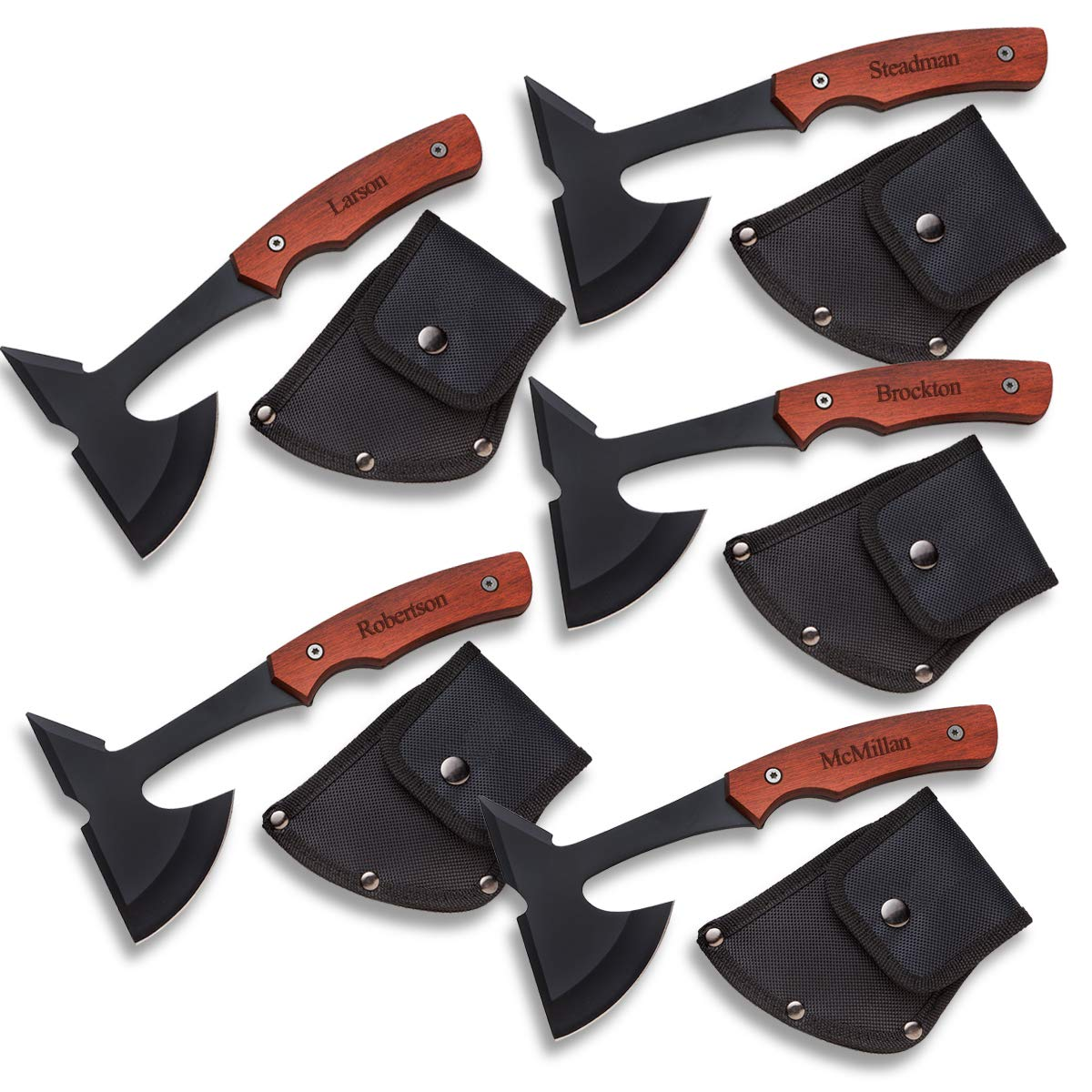 Groomsmen Gifts Set of 5 Personalized Axes - 1 Line by A Gift Personalized (Image #1)