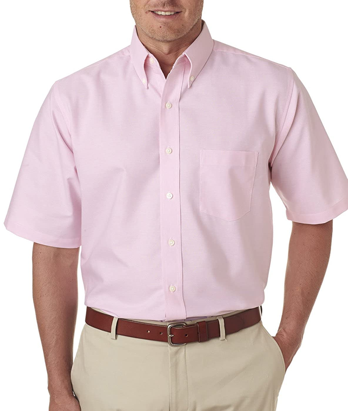 Pink X-Large Ultraclub Men/'s Classic Wrinkle-Free Short-Sleeve Oxford