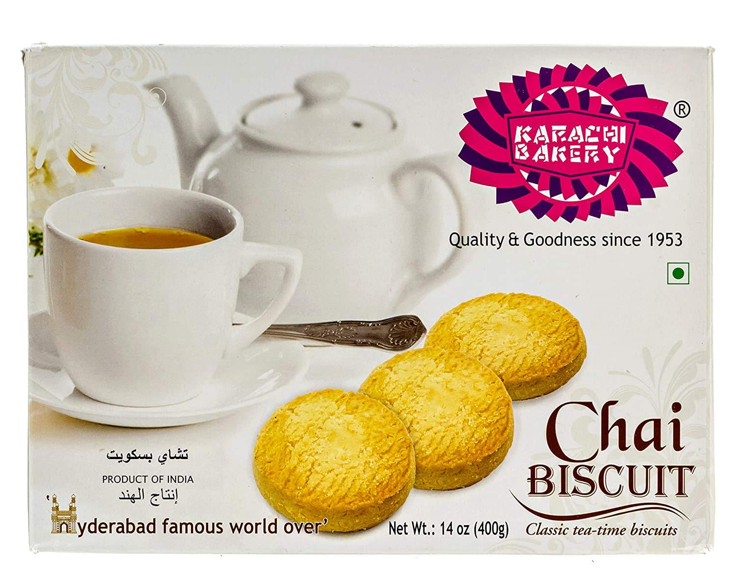Karachi Bakery- Chai Biscuit , 14.10 oz (400 g), cookies, biscuits, indian snacks