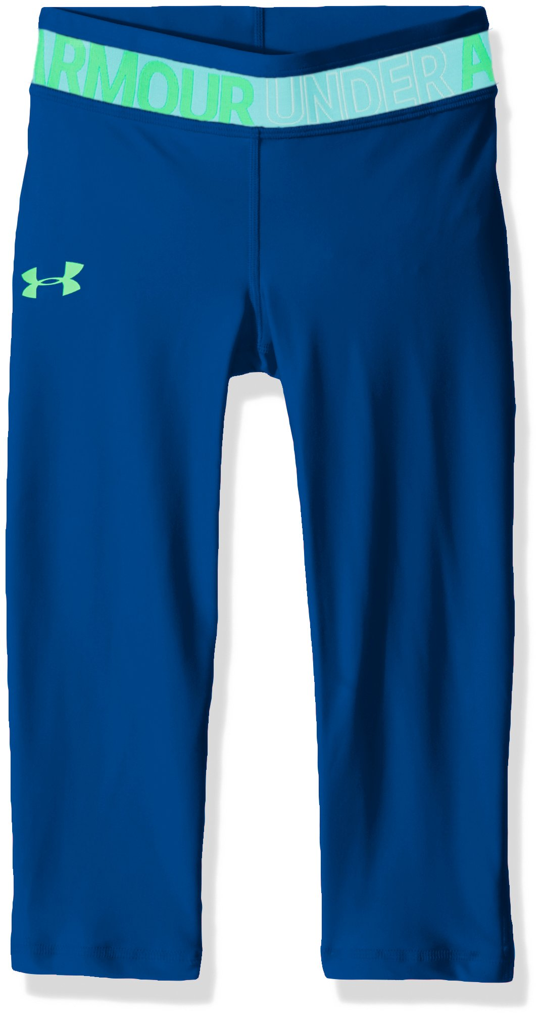 Under Armour Girls' HeatGear Armour Capris, Moroccan Blue /Arena Green, Youth X-Small