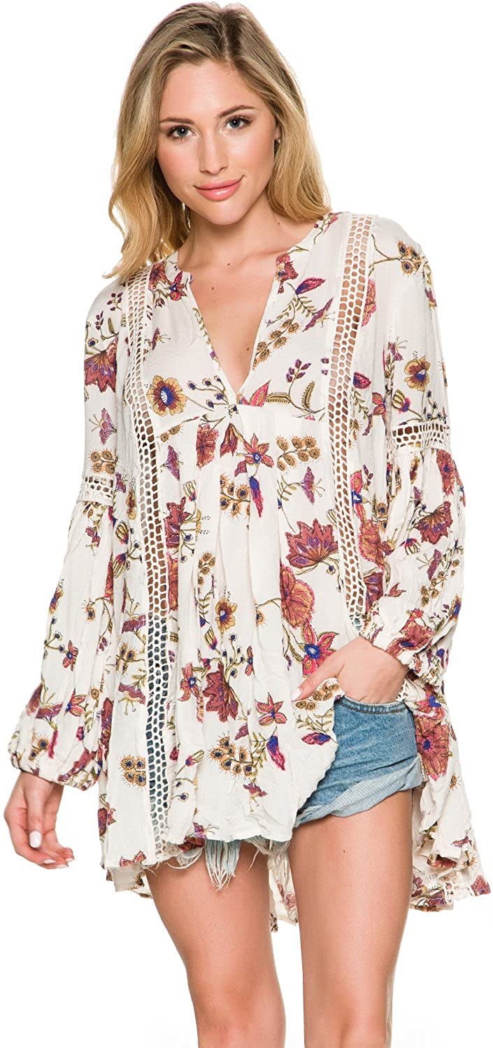 e9082d6d4e7 Free People New Women's Just The Two of Us Printed Tunic V-Neck Rayon  White: Amazon.ca: Clothing & Accessories