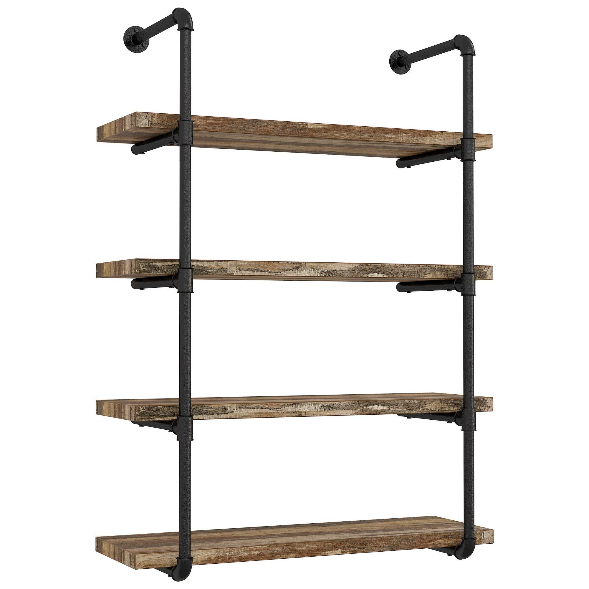 IRONCK Wall Shelf 20 Tier Pipe Shelf, Wood and Metal Frame ...