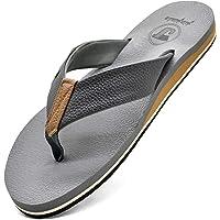 JIAJIALE Chanclas de Cuero para Hombre Verano Playa Piscina Sandalias de Tanga Con Soporte de Arco Vacaciones…