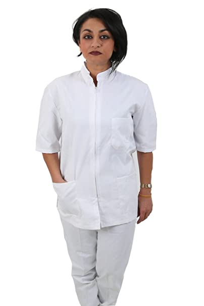 Divisa Completa da Lavoro Bianco Zip Collo Coreano Unisex Cotone ESTETICA  Infermiere A  Amazon.it  Abbigliamento 389b8c8f0f2d