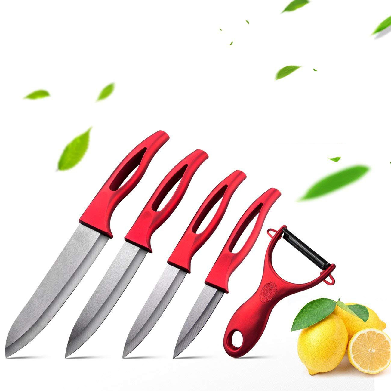 Ceramic Knife Set,5 Pieces Kitchen Cutlery Ceramic Knife Set Sharp Blade 3'' Peeling 4'' Paring 5''Utility 6'' Chef Knife and Ceramic Peeler with Red Handle