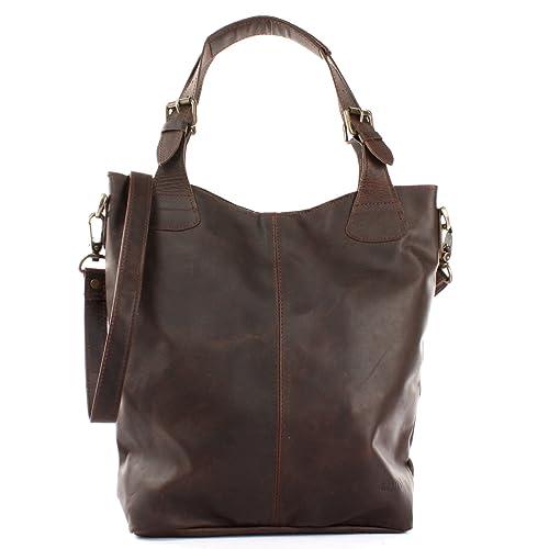 1fdbac9ce2f4d LECONI Henkeltasche Echtleder Vintage-Look Damentasche für Shopping  Handtasche für Damen Leder Shopper mit Trageriemen