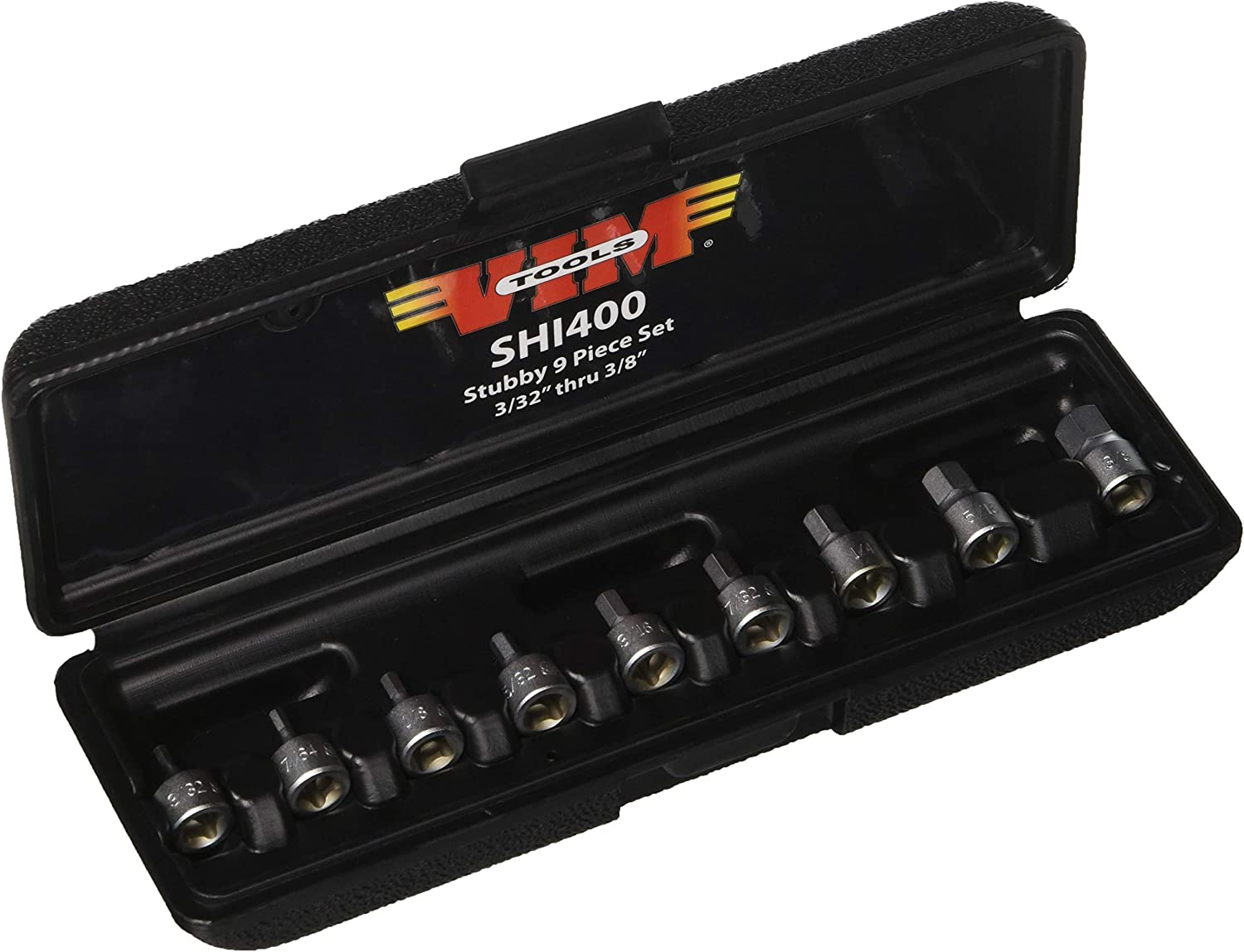 1//4-Inch square drive hex drivers 9 piece SAE VIM Hand Tools Stubby Hex Drive Set