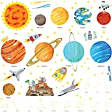 DECOWALL DA-1501 The Solar System Kids Wall Stickers Wall Decals Peel and Stick Removable Wall Stickers for Kids Nursery…