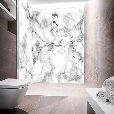 Pared posterior de ducha de aluminio, placas compuestas como placa individual o juego de placas para ducha de esquina, corte a medida, diseño de mármol Ex White: Amazon.es: Bricolaje y herramientas