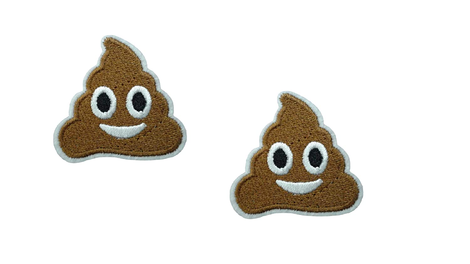 4.5 x 4.5 cm 2 Pieces Smiling Poop Iron On Patch Applique Motif Emoji Shit Poo Novelty Scrapbooking Decal 1.8 x 1.8 inches