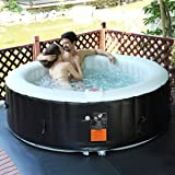 Goplus 6 Person Portable Inflatable Hot Tub for Outdoor Jets Bubble Massage Spa Relaxing w/ Cover & Filter Cartridge Accessories Repair Kit (Black)