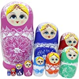 10pcs Lovely Large Russian Nesting Doll Handmade Wooden Dolls, Colorful Porcelain