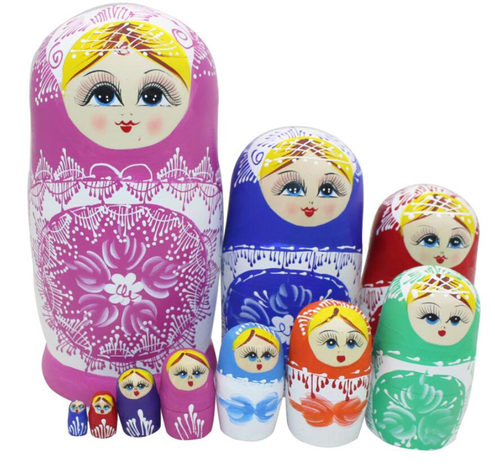 Cute Little Girl Princess with Snowflake Pattern Colorful Handmade Wooden Russian Nesting Dolls Matryoshka Dolls Set 10 Pieces for Gift Home Decoration by Winterworm
