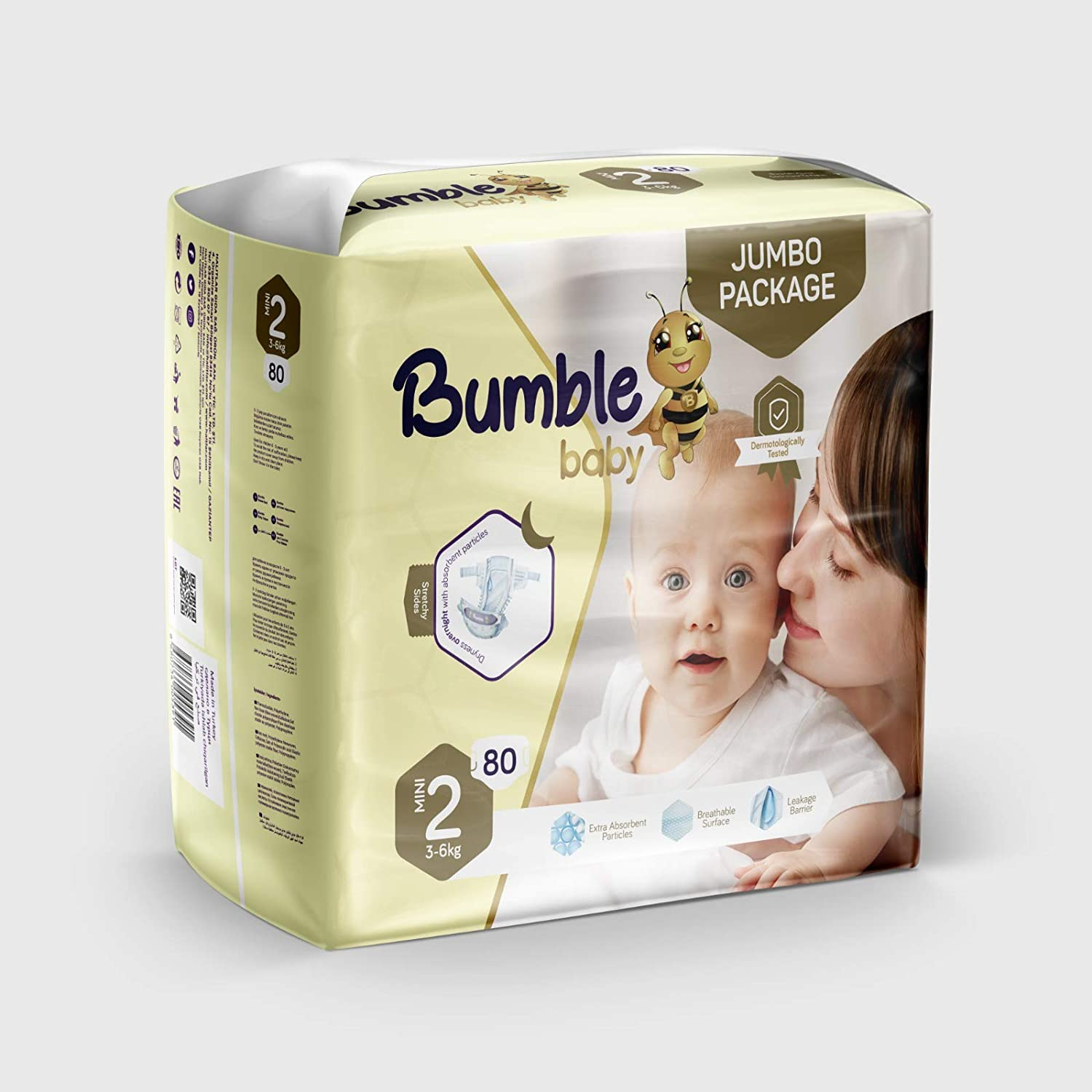 Bumble Baby Diapers Size 2 (3-6 kg) 80 Counts, Jumbo Pack, Drip Proof Barriers, Textile Surfaces, Absorbing Particles, Ultra-Flexible Side Grip Strips