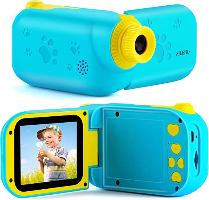 """AILEHO Kids Camera for Boys Digital Video Camera for Kids Birthday Children Toys 3 4 5 6 7 8 9 Years Old Toddler Camera 8M 1080P with 8GB Card Game Camera Rechargeable IPS 2.4"""" Blue"""