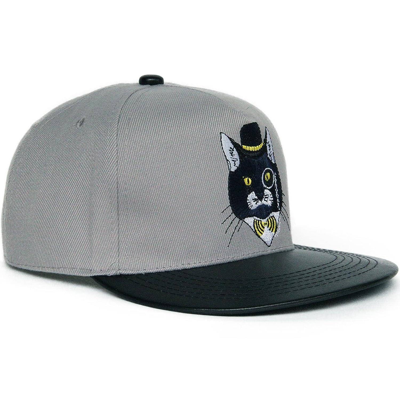 Rayna Fashion unisex flat bill visor hats hip hop caps embroidery cat animal