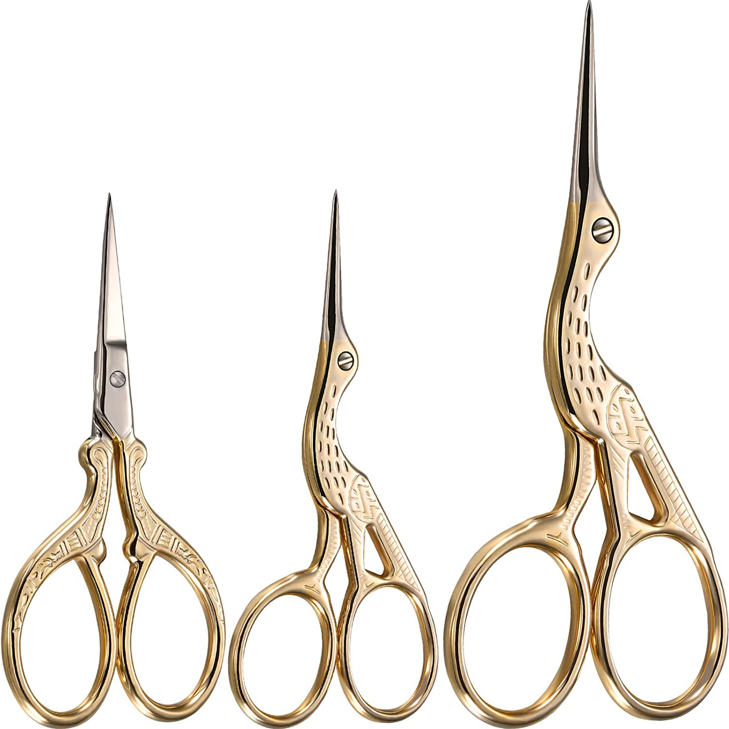 3 Pieces Stork Scissors Stainless Steel Crane Design Sewing Scissors Embroidery Scissors Tailor Scissors Dressmaker Shears for Embroidery, Paper Cutting, Sewing and Daily Activities (Gold)