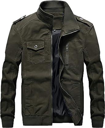 chouyatou Mens Casual Stand Collar Zip-Up Lightweight Bomber Jacket Windbreaker
