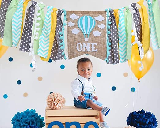 High Chair Banner For 100st Birthday - Hot Air Balloon Decorations For 100st  Birthday Boy Gifts - Gray Blue Yellow Green Cake Smash For Banner - High