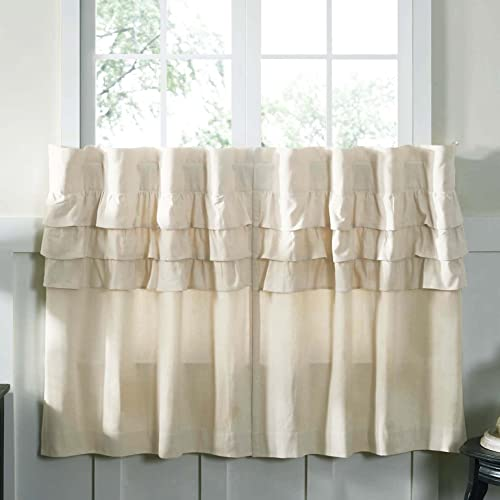 Piper Classics Ruffled Chambray Natural Beige, Lined Tiers, Cafe Curtains, Set of 2, L36 x W36 Farmhouse Style Curtains