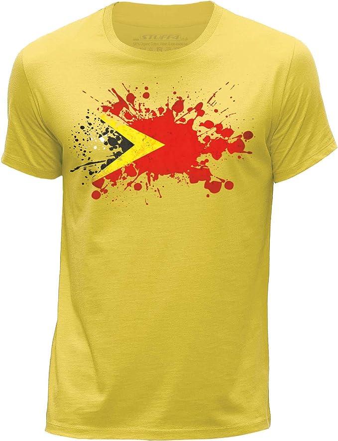 STUFF4 Men/'s Black Round Neck T-Shirt//East Timor//Leste Flag Splat//SZ
