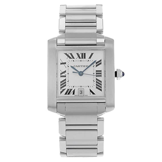 Tanque de Cartier Francaise W51002Q3 acero inoxidable automático reloj para hombre
