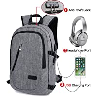 Anti-Theft Waterproof Polyester Laptop Backpack with USB Charging Port and Lock, Fits Under 15.6-Inch Laptop, Business Travel University Computer Shoulder Bag (Gray).