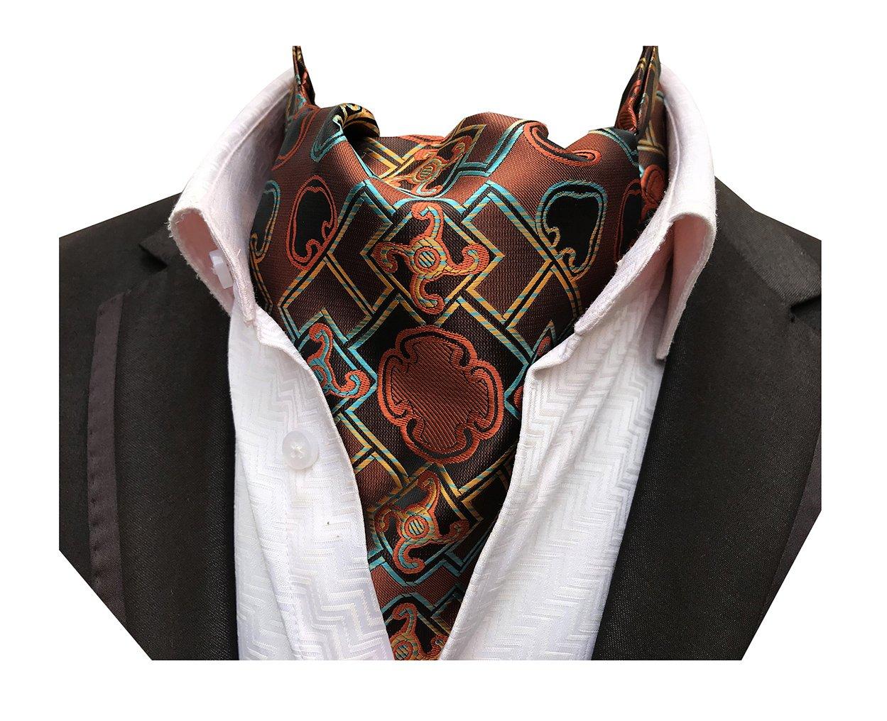 MENDENG Men Purple Paisley Jacquard Woven Silk Cravat Necktie Scarf Formal Ascot ad0627083