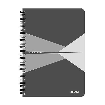 Leitz Cuaderno A5, 90 páginas, Con rayas, Encuadernación Wiro con tapas rígidas, Office, Gris, 44590085