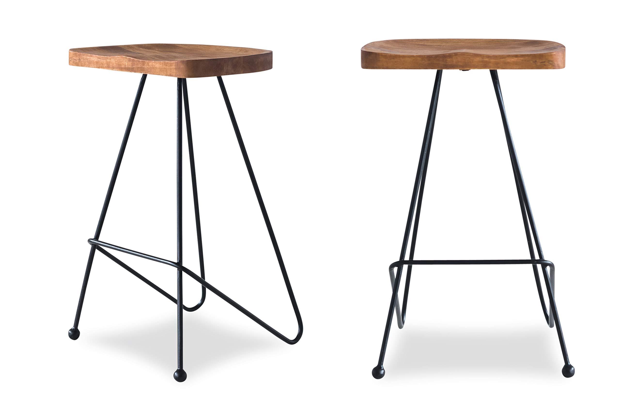 Edloe Finch ( Modern Bar Counter Stools Chairs Iron Base, Solid Sheesham Wood, Honey by Edloe Finch