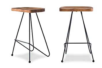 Pleasing Edloe Finch Modern Bar Counter Stools Chairs Iron Base Solid Sheesham Wood Honey Beatyapartments Chair Design Images Beatyapartmentscom