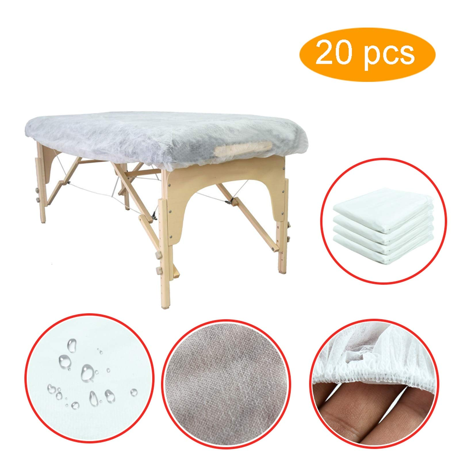 AQUEENLY Fitted Massage Sheets Pack of 20, Disposable Massage Table Cover with Elastic Design, Soft Non-woven Fabric, 78.7 x 31.5 inches(White) by AQUEENLY